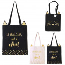 tote bag cat, 2- times assorted