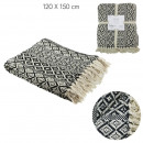 wholesale Cushions & Blankets: plaid ethnic fringe pattern tiles 120x150cm, 1-