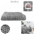 wholesale Cushions & Blankets: plaid big chunky gray mesh 120x150cm, 1-time
