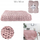 plaid grosse maille chunky rose 120x150cm
