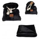 wholesale Cushions & Blankets: plaid pouch flannel black ponpons 120x150cm, ...