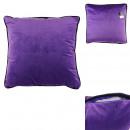 Pillow velvet plain purple black outline 45x45cm,