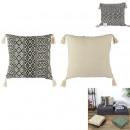 Pillow ethnic tassels beige 40x40cm, 1-time ass