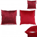 coussin velours franges rouge gatsby 40x40cm