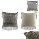Pillow velvet gray fringe gatsby 40x40cm, 1-faith