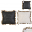 Pillow black raffia with removable cover 40x40cm