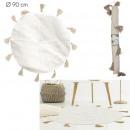 tapis rond coton pompon beige 90cm