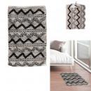 bézs és fekete dombormű etnikai szőnyeg 60x90cm
