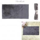 feiner grauer Kunstpelzteppich 110x60cm