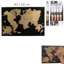wholesale Gifts & Stationery: World map scratched 40x60cm, 1 -times assorted