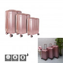 suitcase paris pink x3 40l 65l 100l