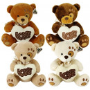 wholesale Toys: Plush Bear with Love Heart 4 assorted 20cm