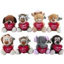 Plush Animals with heart 8 assortment 14cm