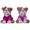 wholesale Dresses: Plush Bulldog in pink dress 2 assorted 20cm