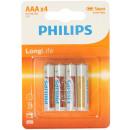 mayorista Baterias y pilas: Philips LongLife R03 AAA 4 piezas
