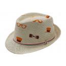 wholesale Headgear: Hipster Print  Summer Straw Hat Mens Fedora