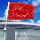 Bilflagga Just Married Red-White