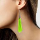wholesale Earrings: Earrings fringe neon green