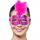 Venetian mask magenta with feathers