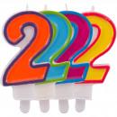 Großhandel Geschenkartikel & Papeterie: Kerze Nummer 2 in hellen Farben