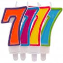 Großhandel Geschenkartikel & Papeterie: Kerze Nummer 7 in hellen Farben