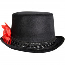 wholesale Headgear: Hat Black with Red Rose and Skeleton