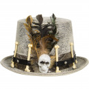 wholesale Headgear: Gray Hat with Feathers and Bones