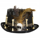 wholesale Headgear: Black Hat with Feathers and Bones