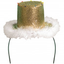 wholesale Headgear: Hat gold with white fur and LED lights