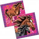 Großhandel Tischwäsche: Pferde Servietten - 20 Stück