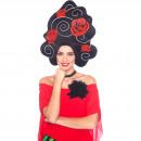 Großhandel Lizenzartikel: Schaum Perücke schwarz mit Rosen