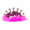 Party Tiara Magenta Pelz LED