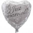 Silver bröllop hjärta ballong Just Married