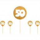 wholesale Bedlinen & Mattresses:Cake Topper 50 Gold