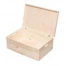 Holzkiste mit Deckel, Aufbewahrungsbox Holz, Natur