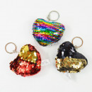 Sequined plush keychain, heart, 4-fold