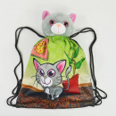 Sports bag with plush toy, cat, 40x30cm