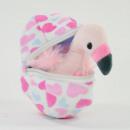 Felicitas, mini flamingo made of plush in an egg,