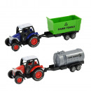 Metal tractor with trailer and retractable drive,