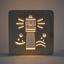 AmbiWood, woodcut lamp, lighthouse, 19x19x3cm,