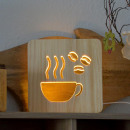 wholesale Kitchen Utensils: AmbiWood, woodcut lamp, coffee, 19x19x3cm, inc