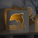 wholesale Toys: AmbiWood, woodcut lamp, dolphin, 19x19x3cm, inc