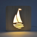 wholesale Home & Living: AmbiWood, woodcut lamp, sailing ship, 19x19x3cm