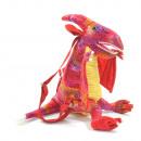 Plecak Dinor, pterodaktyl, czerwony z brokatem