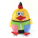 Animal backpack, funny chicken, colorful, with car