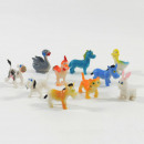 Colorful farm animals, approx. 4 cm, 20 pieces in