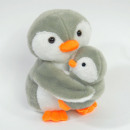 Pluche pinguïn met baby, 16cm