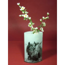 Retro glass vase, horse charcoal, 16,5x8,5x25,5cm,