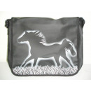 City bag, large, vinyl, horse at gallop, 40x10x32c