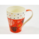 New Bone China Mug with heart motif, red, 9,5 x 9c